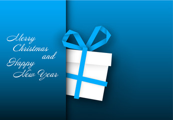 Blue Christmas and New Year's Card with Gift Box