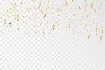 Golden confetti and ribbon falling on transparent background. Celebration. Vector Illustration EPS10