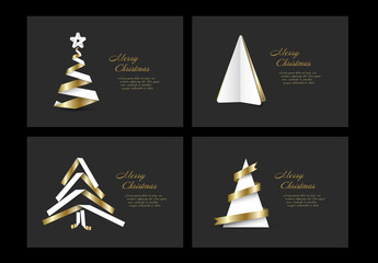 4 Christmas and New Year's Card with White  and Gold Ribbon Trees