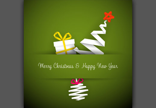 Christmas and New Year's Card with White Ribbon Tree and Gifts