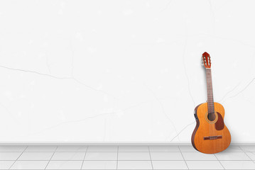 Home interior -  Electric classic guitar in front of white wall