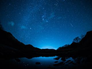 冬の天の川とふたご座流星群