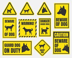 danger dog signs, beware of dog warning stickers