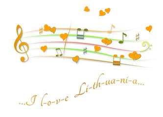 Musical score colored I love Lithuania