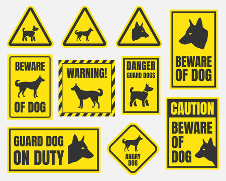 danger dog signs, beware of dog warning stickers