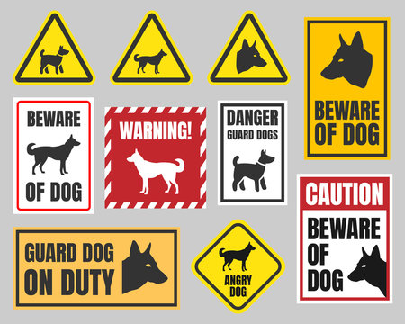 warning dog sign, beware of dog caution signs