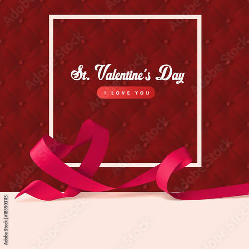 Red Upholstery Background And Ribbon Heart Shape With Frame Sexy