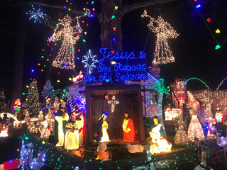 Christmas lights decorations are lit at the Halliwell family home in Roseville Terrace in Fairfield