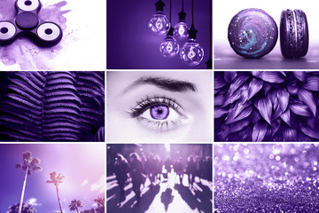 Ultra Violet collage. Color of the year 2018