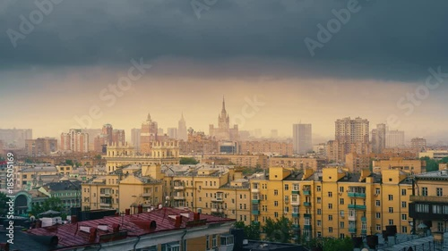 Fotobehang Moscow cityscape, rain clouds moving over gloomy city skyline. 4K UHD timelapse.