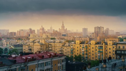 Fotobehang - Moscow cityscape, rain clouds moving over gloomy city skyline. 4K UHD timelapse.