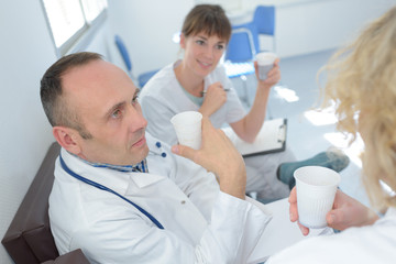 nursing staff having a coffee break