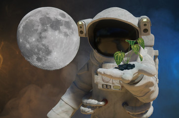 3D Illustration of the astronaut holds a green plant with leaves in hand
