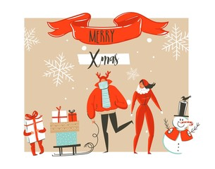 Hand drawn vector abstract Merry Christmas and Happy New Year time cartoon illustrations greeting card with outdoor family people group,snowman and modern typography isolated on white background