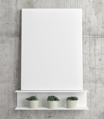 Mock up poster on white light shelf with three pots, 3d illustration, 3d rendering