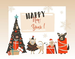 Hand drawn vector abstract Merry Christmas and Happy New Year cartoon illustrations greeting card with xmas decorated tree,pet mammal dogs and modern typography isolated on white background