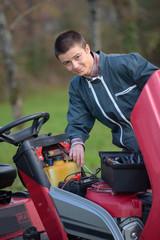 a broken sit-in mower