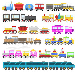Kids train vector cartoon baby railroad toy or railway game with locomotive gifted on happy birthday to child in childhood kids toys isolated on white background illustration