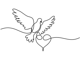 Continuous one line drawing. Flying pigeon with heart Valentine Day logo. Black and white vector illustration. Concept for logo, card, banner, poster, flyer