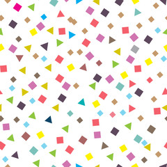 Seamless pattern with small squares and triangles. Vector repeating texture.