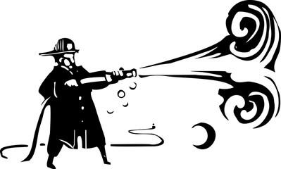 Woodcut Fireman with hose