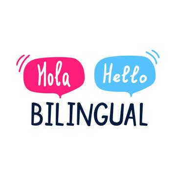 Bilingual. Flat vector illustration on white background.