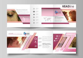 Set of business templates for tri fold square design brochures. Leaflet cover, abstract vector layout. Romantic couple kissing. Beautiful background. Geometrical pattern in triangular style.