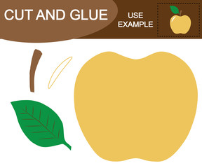 Educational game for children. Create the image of apple (fruit) using scissors and glue.