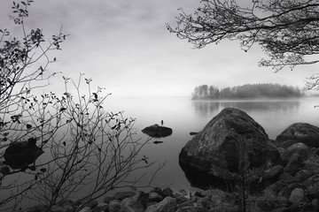 Lake, stone and forest, black and white, nature photography. Travel. wallpaper