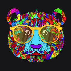Vector ornament face of panda with fashion yellow eyeglasses. Line art style.