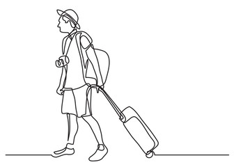 continuous line drawing of young traveler rolling bag on wheels