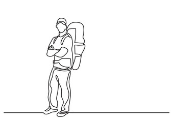 continuous line drawing of standing traveler with backpack