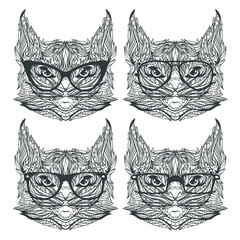 Vector set of cat faces isolated on white background