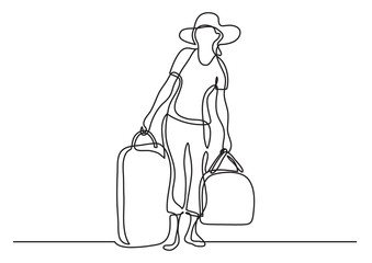 continuous line drawing of woman traveler carrying baggage