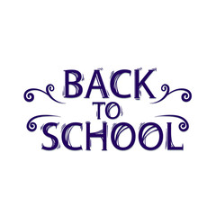 Back to school only styled text with shadow, vector illustration isolated on white background