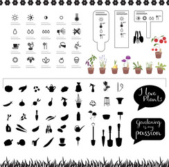 Icons with typical plants,tools, flowers and vegetables. Gardening objects and symbols isolated on white