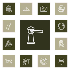 Set Of 13 Travel Outline Icons Set.Collection Of Foreigner, Case, Lighthouse And Other Elements.