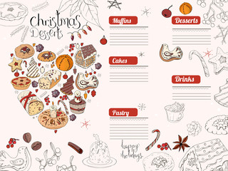 Restaurant and cafe menu for winter season. Christmas traditional desserts, pastry and sweets.