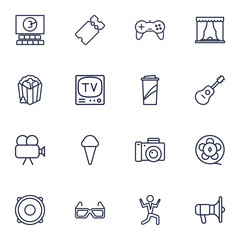 Set Of 16 Pleasure Outline Icons Set.Collection Of Photo Camera, Guitar, Movie Cam And Other Elements.