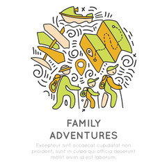 Family adventure and outdoor activities hand draw icon concept. Family travel icons in one round form with decorative elements. Woman, men and child trekking and get adventures on vacation, sketch