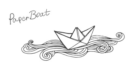Vector black and white doodle paper ship boat illustration.