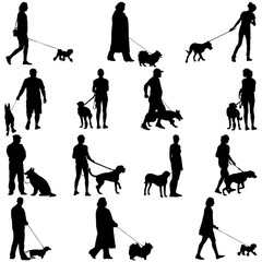 Set ilhouette of people and dog. Vector illustration