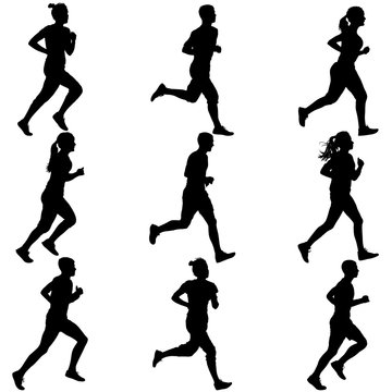 Set of silhouettes. Runners on sprint, men and woman