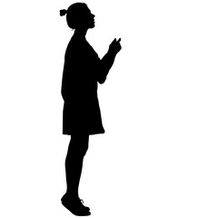 Black silhouette woman standing on toes , people on white background