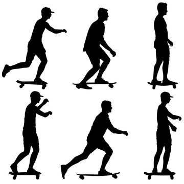 Set ilhouettes a skateboarder performs jumpingon a white background