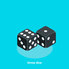 black dice on a blue background, isometric image