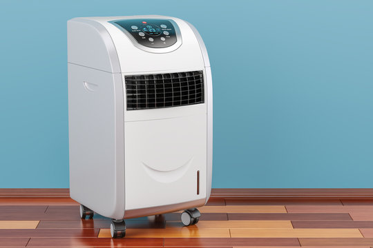 Portable Air Conditioner in room on the wooden floor, 3D rendering