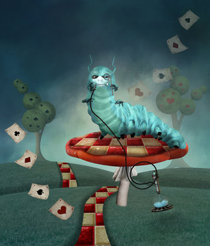 Wonderland series - Caterpillar with hookah in a country landscape