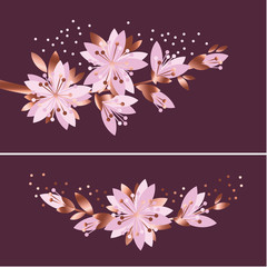 Luxury elegant floral vector pattern. Spring blossom motif with sakura flowers for card, poster, header, wedding projects.