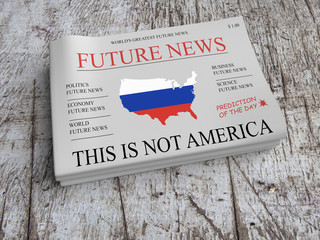 Future News US Russia Economy Newspaper Concept: USA Being Russian, 3d illustration